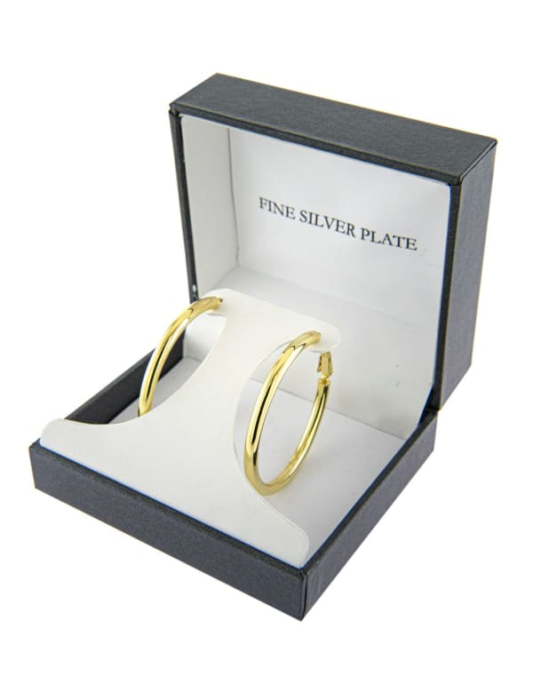 Boxed Fine Gold Over Silver Plated 39mm Hoops - Gold - Front