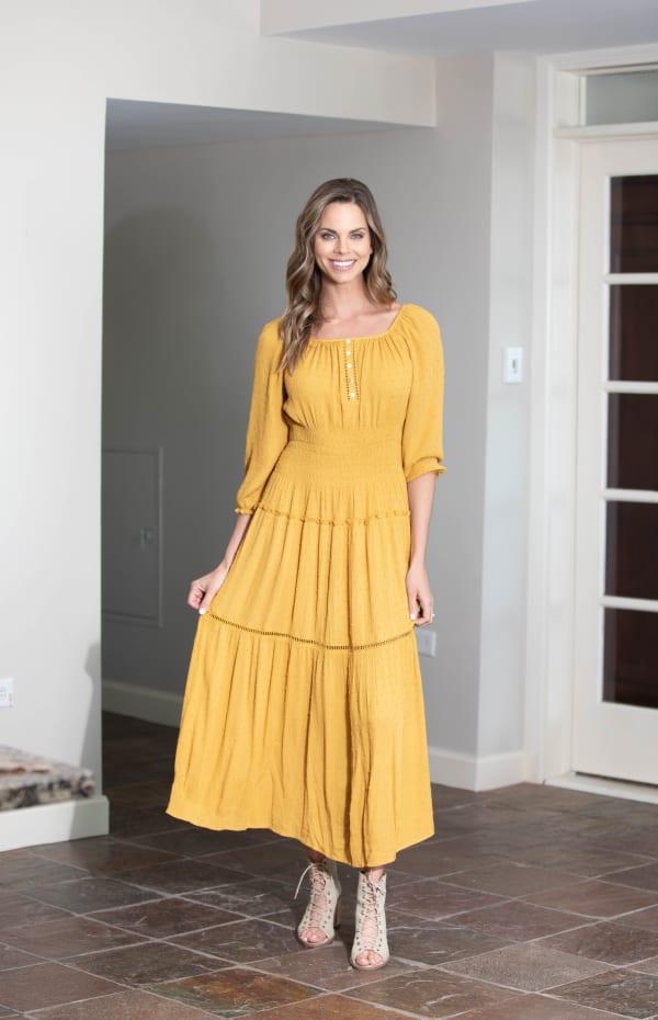 Mustard Clip Dot Maxi Peasant Dress - Misses