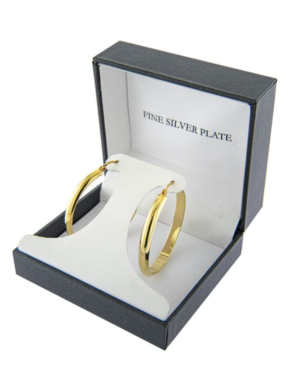 Boxed Gold Over Fine Silver Plated 40mm Click Top Hoops - Gold - Front