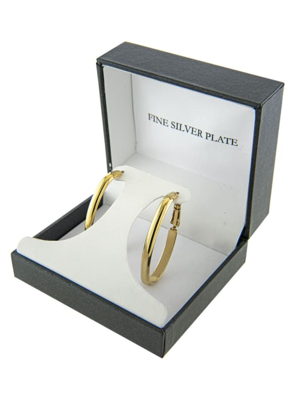 Boxed Gold Over Fine Silver Plated 40x22mm Oval Hinge Hoops