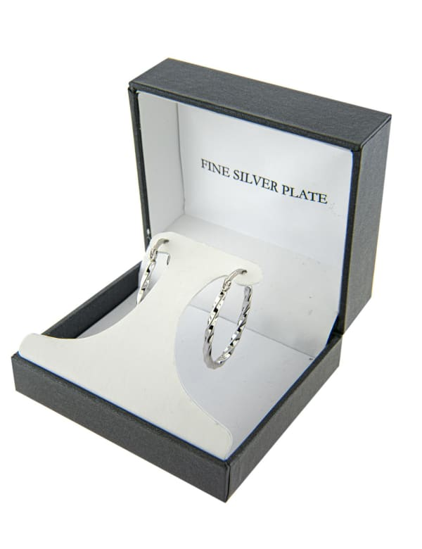 Boxed Fine Silver Plated 31mm Oval Wavy Click Top Hoops