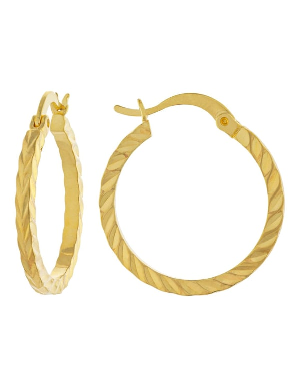 Boxed Gold Over Fine Silver Plated 21mm Diamond Cut Hoops