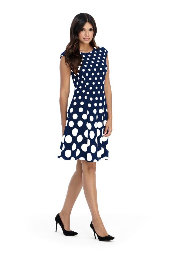 Ellie Cap Sleeve Dot Fit And Flare Dress - Misses