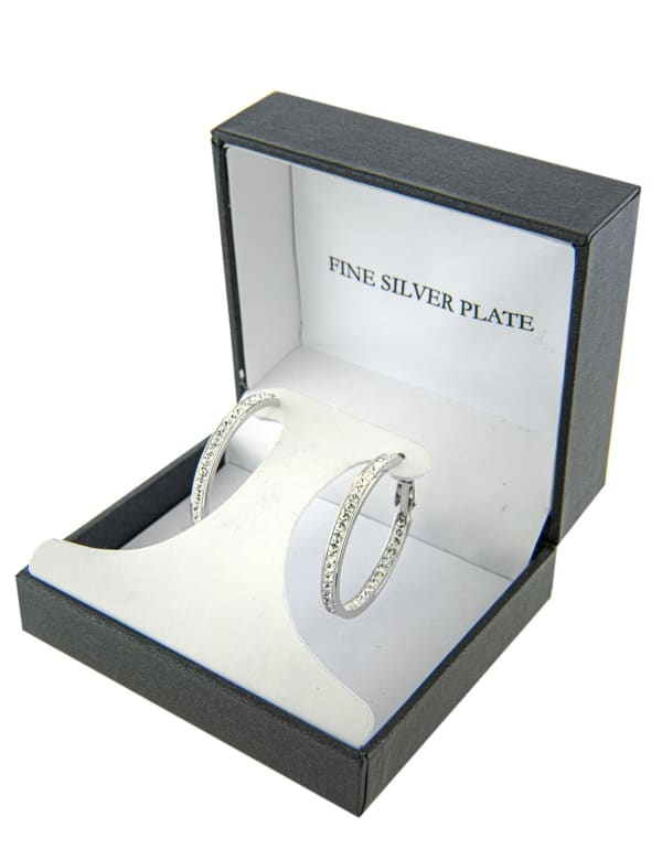 Boxed Fine Silver Plated 30mm Crystal Clutchless Hoops - Silver - Front