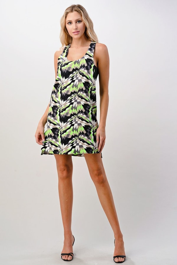 KAII Kaleidoscope Printed Side Band Dress - Black / Lime - Front