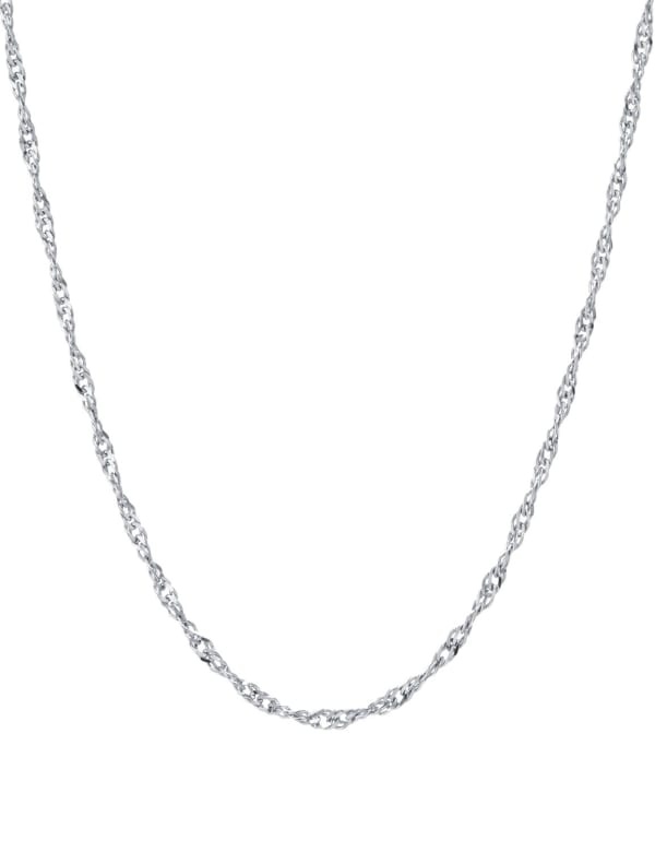 """Sterling Silver 16"""" Twist Chain Necklace - Silver - Front"""