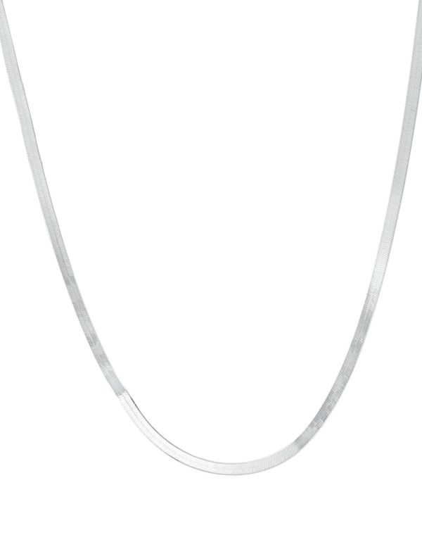 """Sterling Silver 16"""" Herringbone Chain Necklace - Silver - Front"""