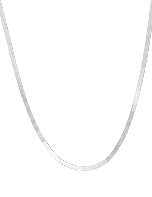 """Sterling Silver 24"""" Herringbone Chain Necklace - Silver - Front"""