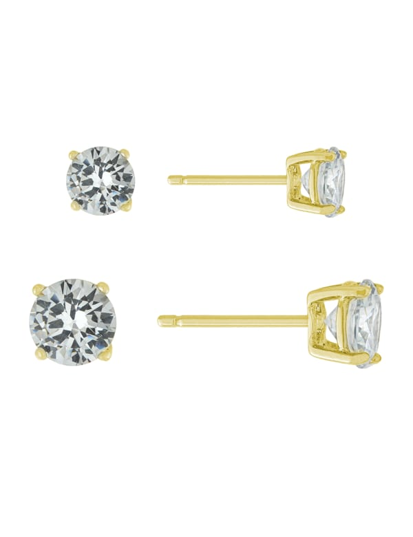Gold Over Sterling Silver 5mm and 6mm Cubic Zirconia Stud Set - Gold - Front