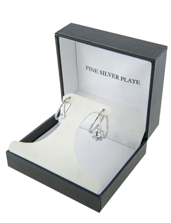 Boxed Fine Silver Plated 21mm Cubic Zirconia Split Clicktop Hoops