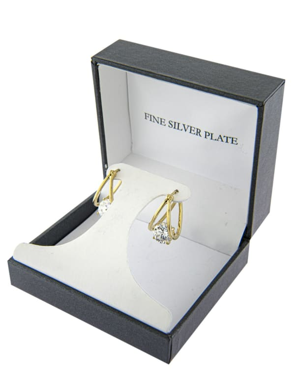 Boxed Gold Over Fine Silver Plated 21mm Cubic Zirconia Split Clicktop Hoops - Gold - Front