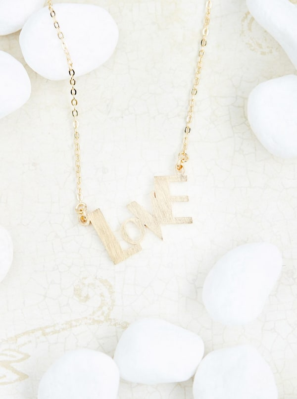 14k Gold Plated Love Pendant Necklace - 14k Gold - Front