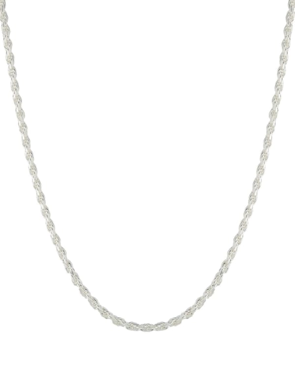 """Sterling Silver 16"""" Diamond Cut Rope Chain Necklace - Silver - Front"""