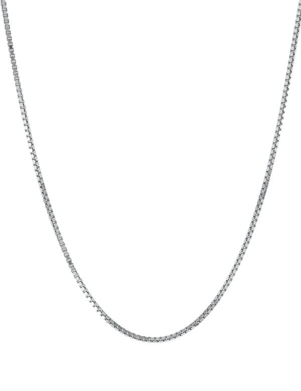 """Sterling Silver 18"""" Box Chain Necklace - Silver - Front"""