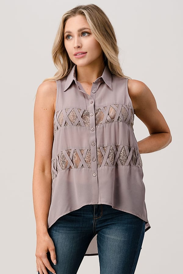 Kaii High Low Hemmed with Lace Insent & Lattice Detail Button Front Sleeveless Shirt - Grey - Front