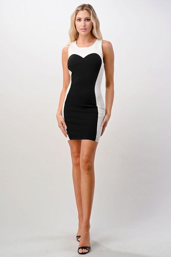 Kaii Open Back Color Blocked Bodycon Mini Dress - Black - Front