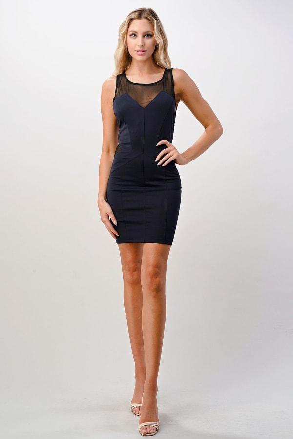 Kaii Cutout Mesh Bodycon Mini Dress - Navy - Front