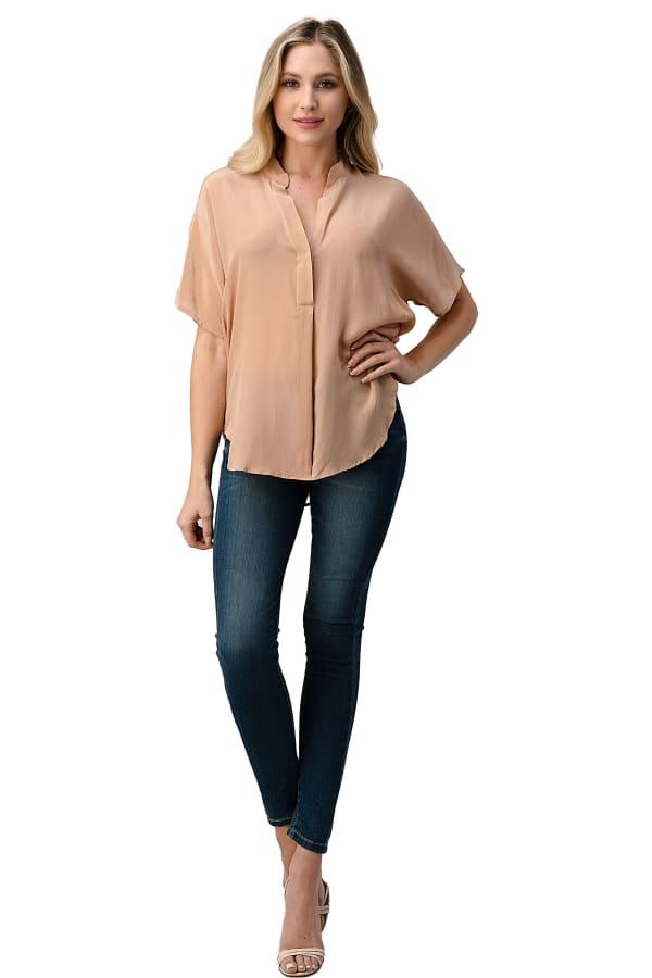 Kaii Silk Solid Dolman Sleeve Blouse Top
