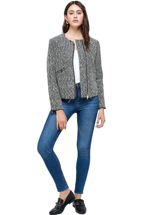 Kaii Tweed Boucle Biker Jacket - Grey - Front