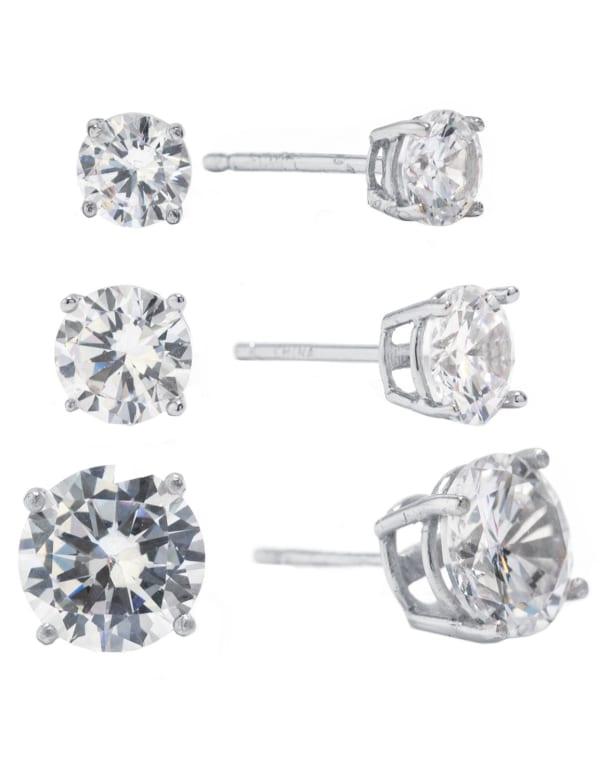 Sterling Silver Cubic Zirconia Stud Earrings Set - Silver - Front