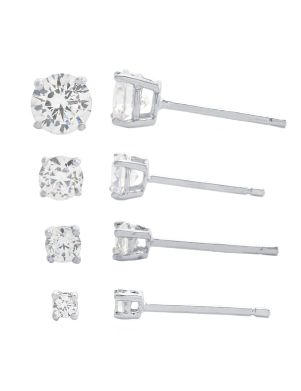 Sterling Silver 2, 3, 4, and 5mm Round Cubic Zirconia Stud Earring Set - Silver - Front