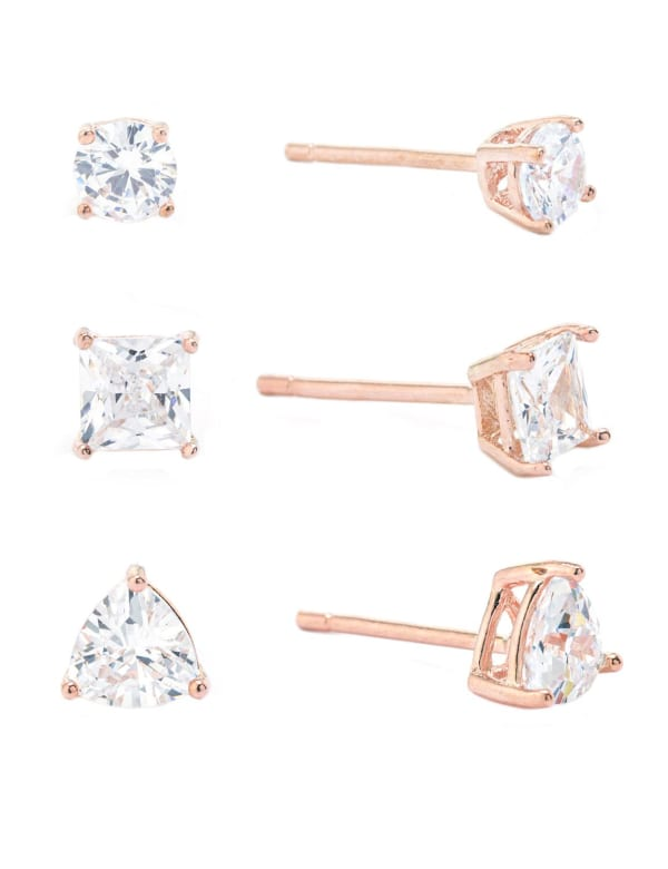 Rose Gold Over Sterling Silver Cubic Zirconia Trio Stud Earrings - Rose Gold - Front
