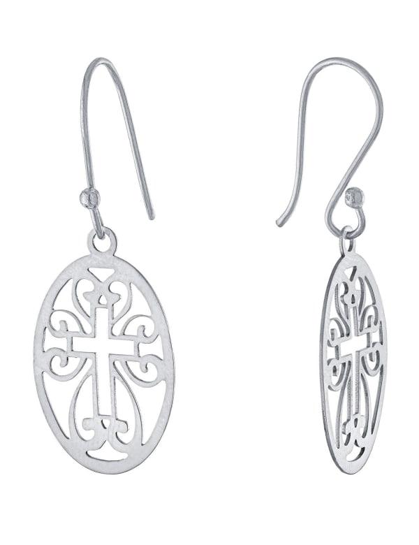 Sterling Silver Laser Cut Oval Cross Drop Earrings - Silver - Front