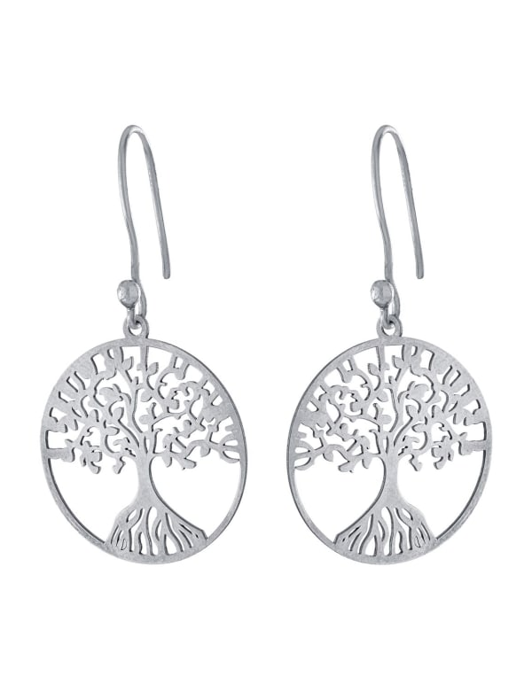 Sterling Silver Laser Cut Circle Tree Drop Earrings With A French Wire - Silver - Front