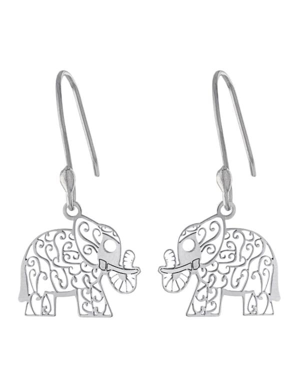 Sterling Silver Laser Cut Elephant Drop Earring - Silver - Front