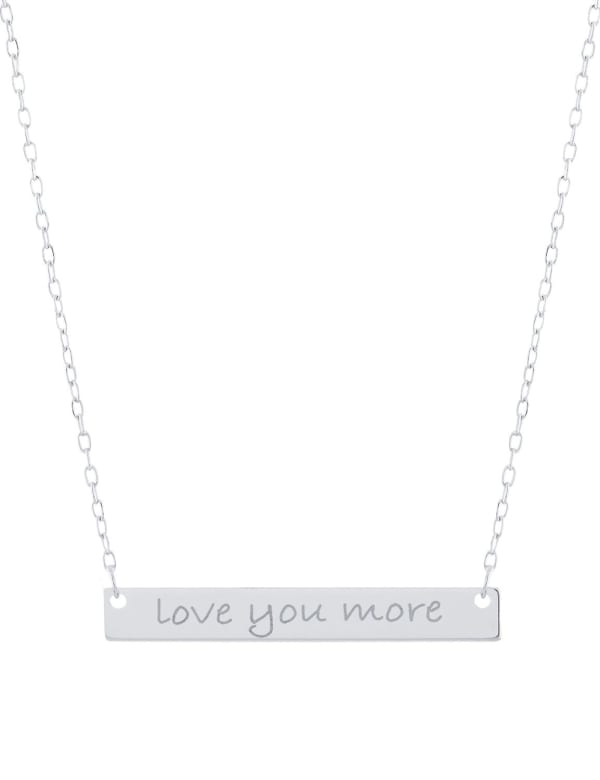 """Sterling Silver 16+2"""" Love You More Bar Necklace - Silver - Front"""