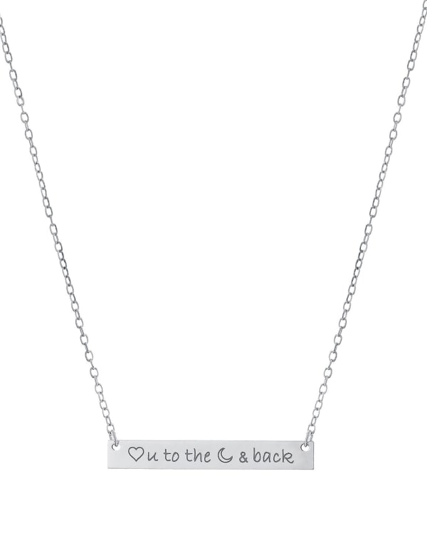 """Sterling Silver 16+2"""" Love You To The Moon & Back Bar Necklace"""