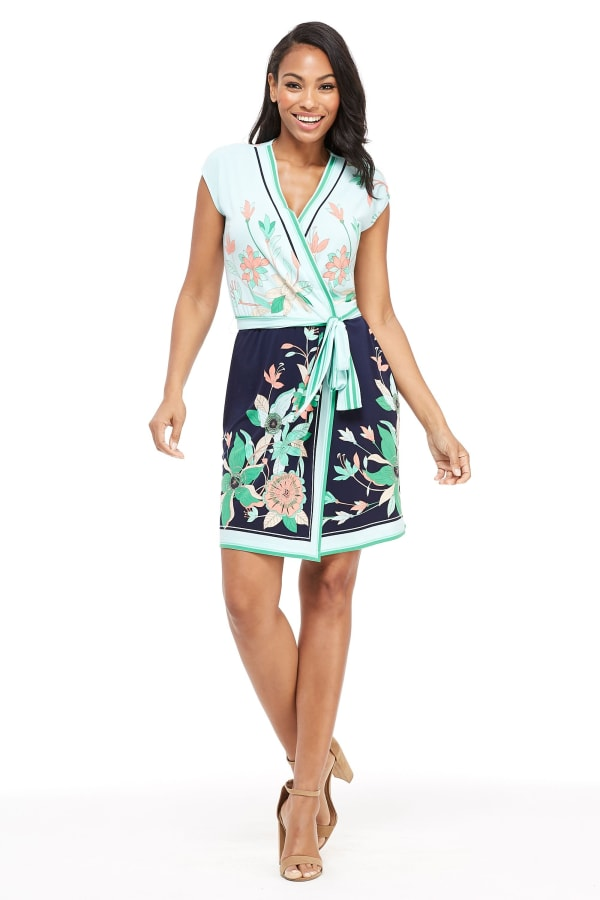 Angela Floral Print Wrap Dress - Petite - Navy / Green - Front