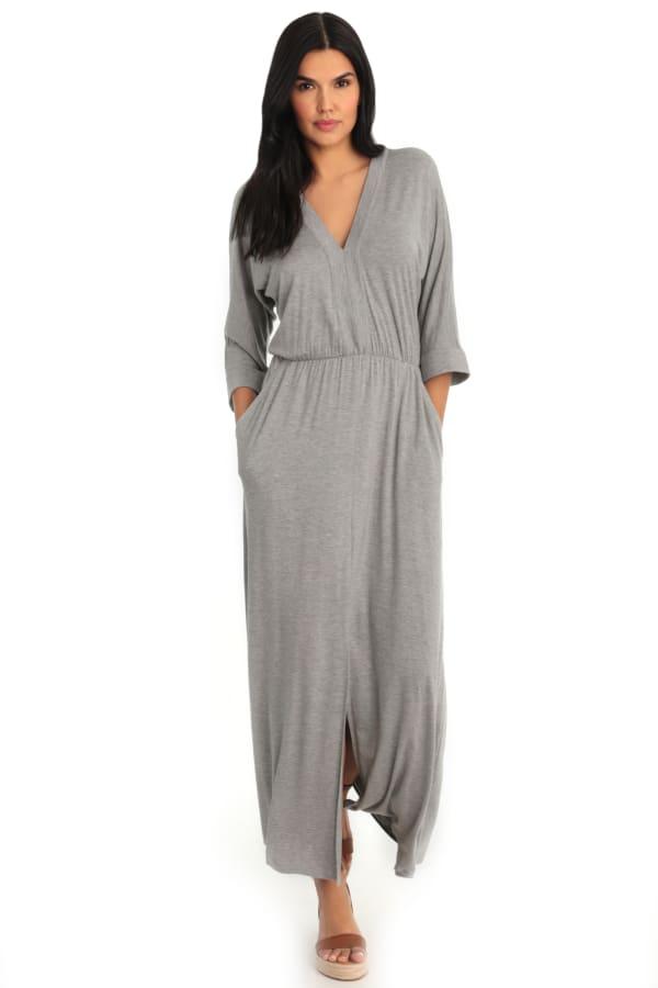 Sienna V-Neck Dolman Sleeve Kaftan Dress - Grey - Front