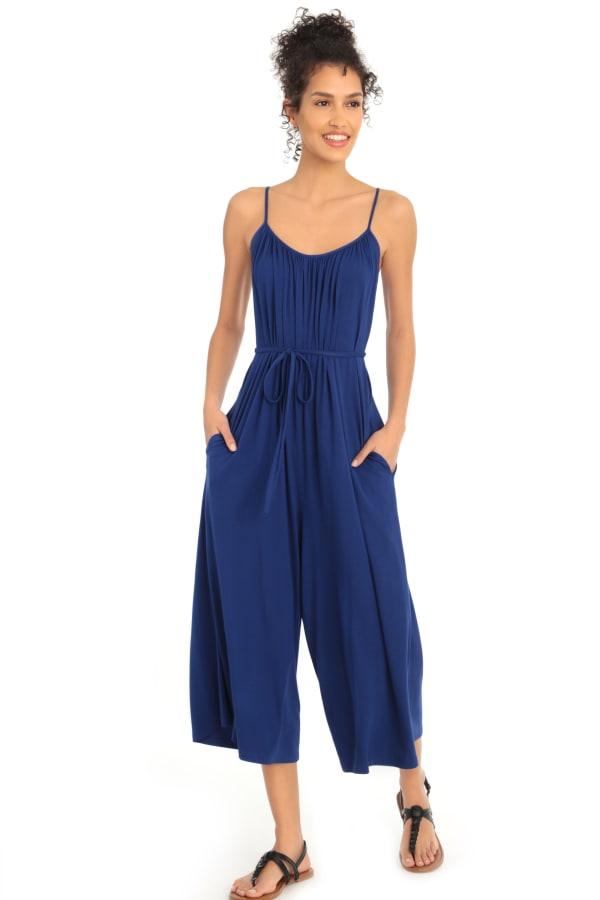 Becca Spaghetti Strap Jersey Jumpsuit - Blue - Front