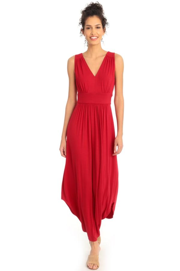 Lindsey V-Neck Shirred Shirt Tail Jersey Maxi Dress