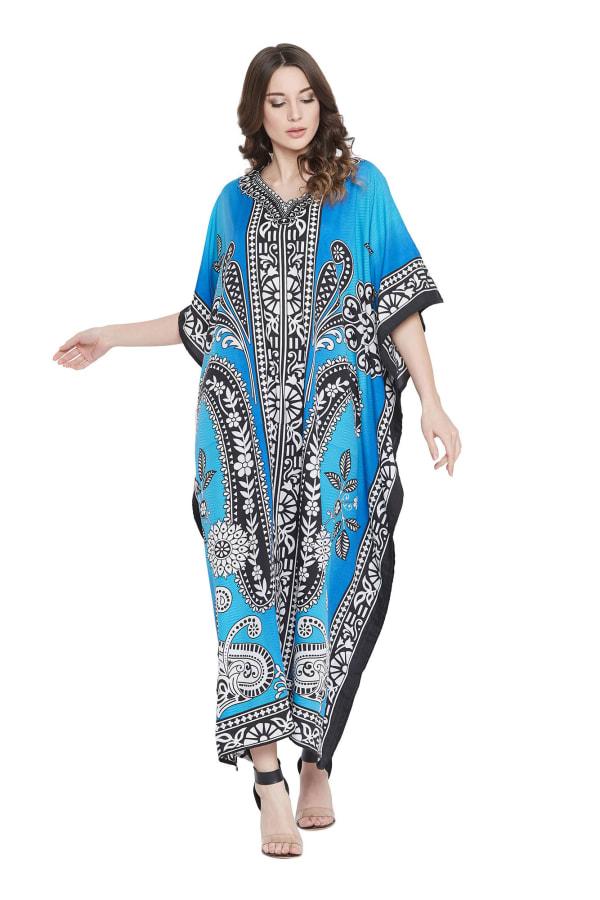 Sky Blue Polyester Maxi Kaftan Dress - Plus