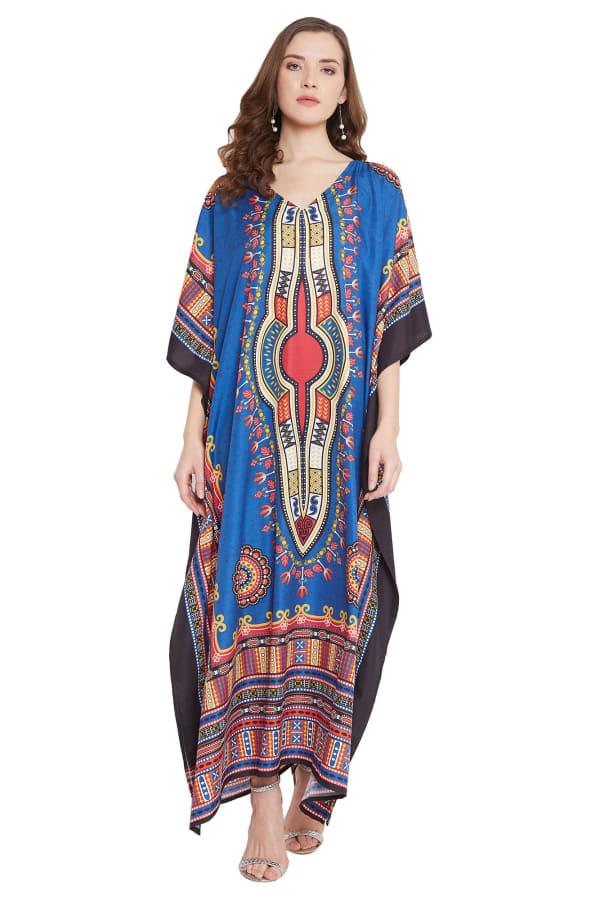 Blue V-Neck Maxi Kaftan Dress - Plus