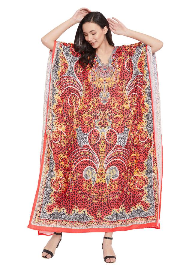 Red Wide Sleeve Maxi Kaftan Dress - Plus