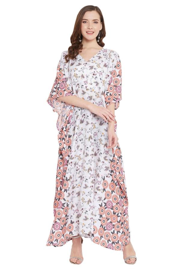 Polyester Kaftan Long Maxi Dress - Plus - White - Front