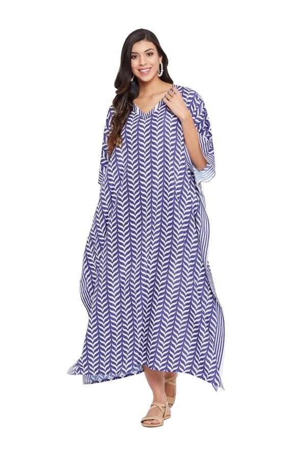 Polyester Kaftan Long Maxi Dress - Plus - Blue - Front
