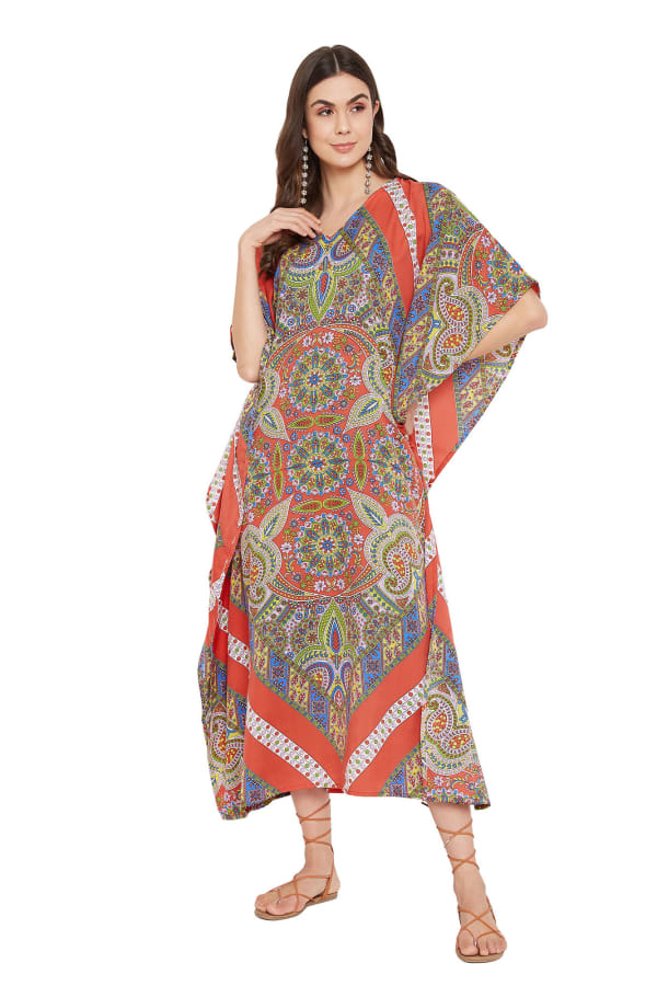 Polyester Kaftan Long Maxi Dress - Plus - Red - Front