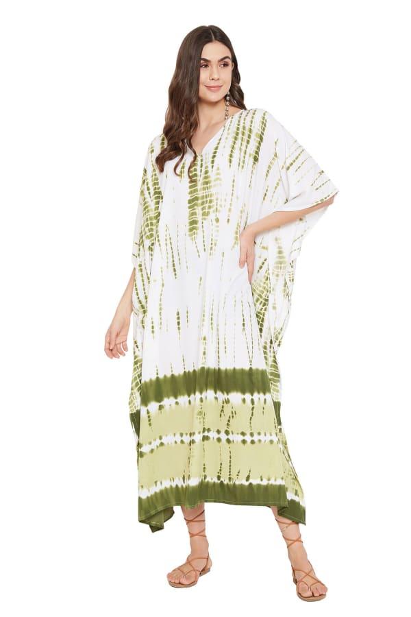 Olive Polyester Kaftan Long Maxi Dress - Plus - Olive - Front