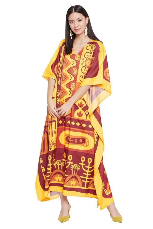 Yellow Kaftan Long Maxi Dress - Plus