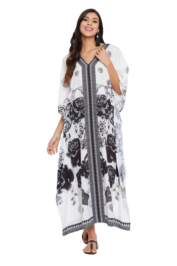 Black & White Kaftan Long Maxi Dress - Plus