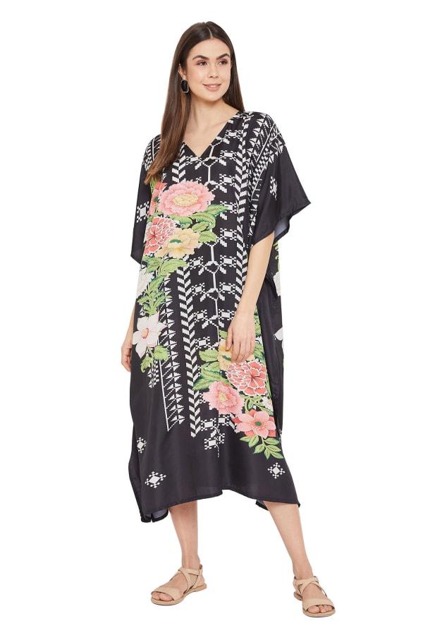 Black Kaftan Long Maxi Dress - Plus