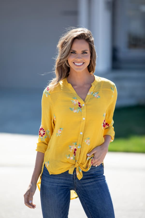 """Saffron Floral Embroidered """"To Tie Or Not To Tie"""" Blouse - Misses - Saffron - Front"""