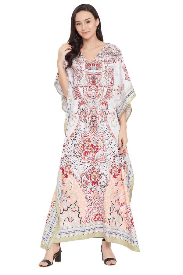 V-Neck Maxi Kaftan Dress - Plus