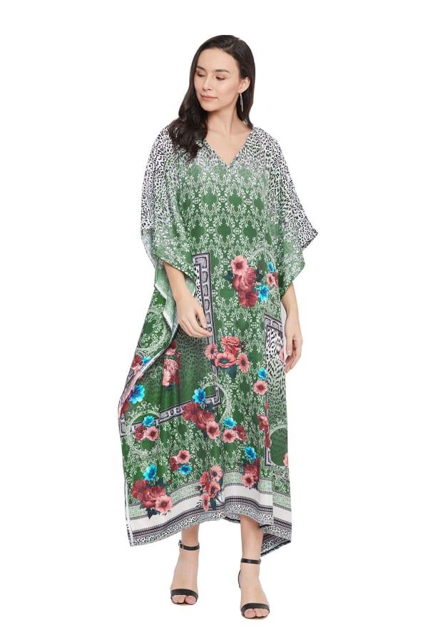 Dark Green V-Neck Maxi Kaftan Dress - Plus