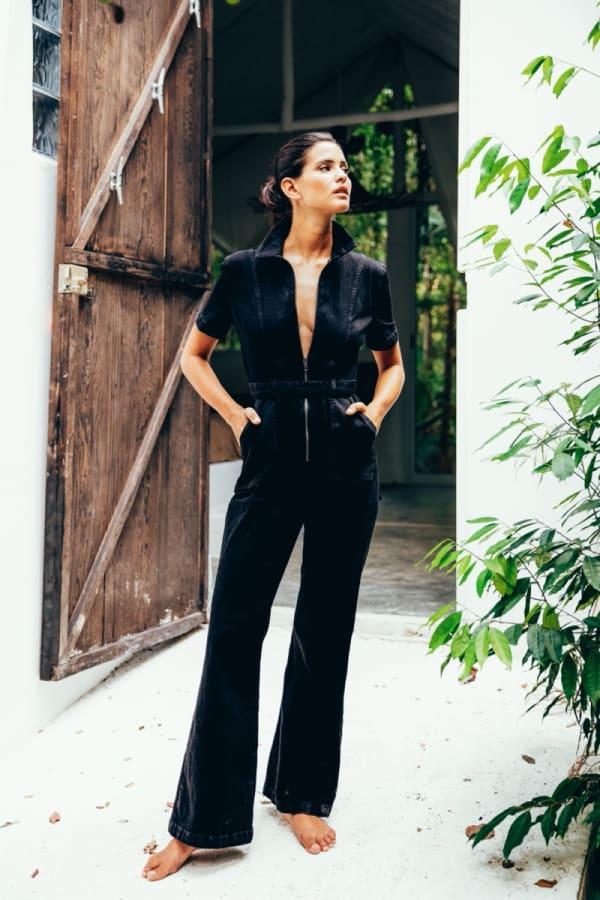 Denim Kira Short Sleeved Jumpsuit - Black - Front