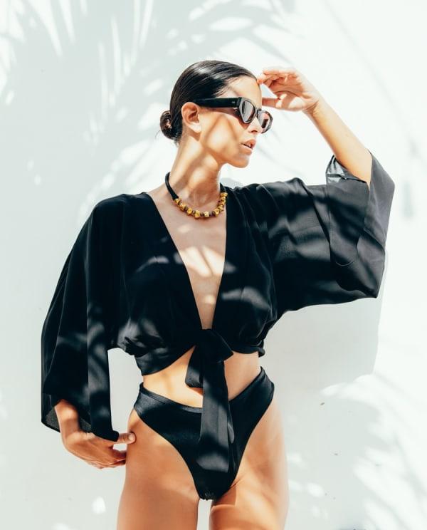 Kimono Wrap Top - Black - Front